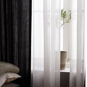 Set of Two Charcoal Linen Curtains